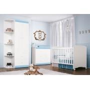 Jogo de Quarto para Bebê Completo Encanto com Sapateira Branco com Azul - Imaza Móveis