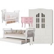 Jogo de Quarto para Bebê Completo Infinity Branco com Rosa - Imaza Móveis