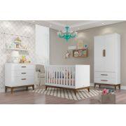Jogo De Quarto Para Bebê Completo Nature Branco com Eco Wood - Matic Móveis