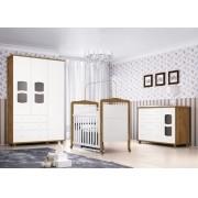 Jogo de Quarto para Bebê Completo Nicoli Branco com Gengibre - Imaza Móveis