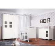 Jogo de Quarto para Bebê Completo Nicoli Branco Brilho - Imaza Móveis