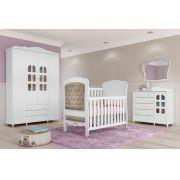 Quarto de Bebê Provençal Completo Branco Fosco - Matic Móveis