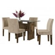 Mesa de Jantar com 4 Cadeiras Europa Amadeirado com Suede Bege - RV Móveis