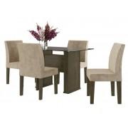 Mesa de Jantar com 4 Cadeiras Europa Imbuia com Suede Bege - RV Móveis