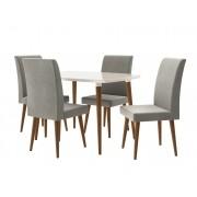 Mesa de Jantar com 4 Cadeiras Jade Off White com Cinza Lunar - RV Moveis