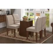 Mesa de Jantar com 4 Cadeiras Zafira Castanho com Suede Bege - RV Móveis