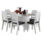 Mesa de Jantar com 6 Cadeiras Esmeralda Branco Linho - RV Móveis