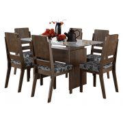 Mesa de Jantar com 6 Cadeiras Esmeralda Noce - RV Móveis
