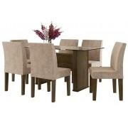Mesa de Jantar com 6 Cadeiras Europa Imbuia com Suede Bege - RV Móveis