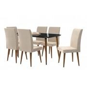 Mesa de Jantar com 6 Cadeiras Jade Black com Suede Bege - RV Móveis