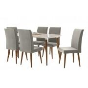 Mesa de Jantar com 6 Cadeiras Jade Off White com Cinza Lunar - RV Moveis