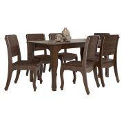 Mesa de Jantar com 6 Cadeiras Ônix Noce - RV Móveis