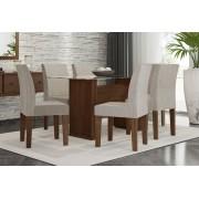 Mesa de Jantar com 6 Cadeiras Zafira Castanho com Suede Bege - RV Móveis