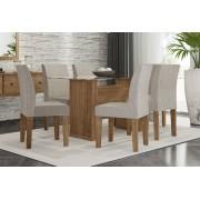 Mesa de Jantar com 6 Cadeiras Zafira Naturale com Suede Bege - RV Móveis