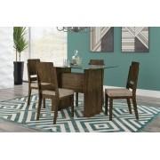 Mesa de Jantar Europa com 4 Cadeiras Esmeralda Imbuia com Suede Bege - RV Móveis