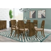 Mesa de Jantar Europa com 6 Cadeiras Esmeralda Amadeirado com Suede Bege - RV Móveis