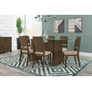 Mesa de Jantar Europa com 6 Cadeiras Esmeralda Imbuia com Suede Bege - RV Móveis
