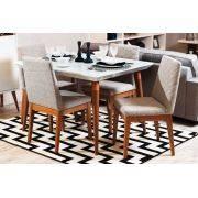 Mesa de Jantar Liv 120 com 4 Cadeiras Liv Branco Gloss com Mármore Carrara - Móveis Província