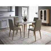 Mesa de Jantar Liv 90 com 4 Cadeiras Liv Branco Gloss com Mármore Carrara - Móveis Província