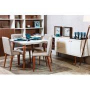 Mesa de Jantar Liv 90 com 4 Cadeiras Liv Off White com Mármore Carrara - Móveis Província