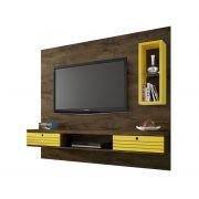 Painel Bancada Para Tv Diamante Madeira Rústica com Amarelo - Móveis Bechara