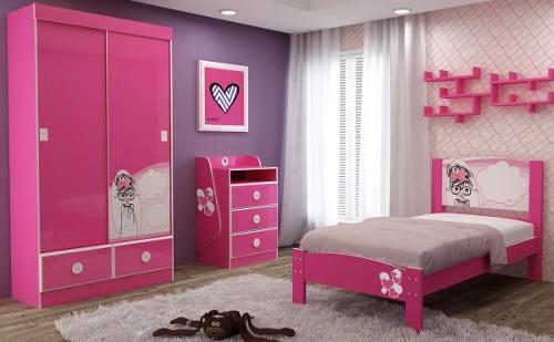 Dormitório Angelina CÔMODA ANGELINA 3G + CAMA ANGELINA 090 + ROUPEIRO ANGELINA - Gelius