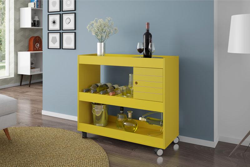 Aparador Bar Retro Amarelo ~ Aparador Bar Cristal Amarelo Móveis Bechara