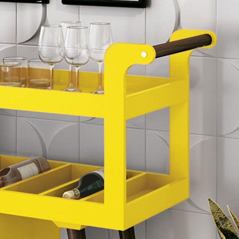 Aparador Barzinho Retrô Baden C/ Espelho Amarelo - Edn Móveis