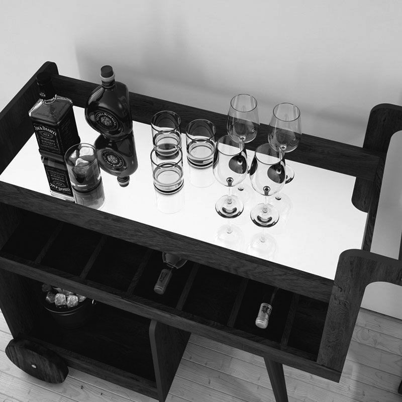 Aparador Barzinho Retrô Baden C/ Espelho Vermelho - Edn Móveis