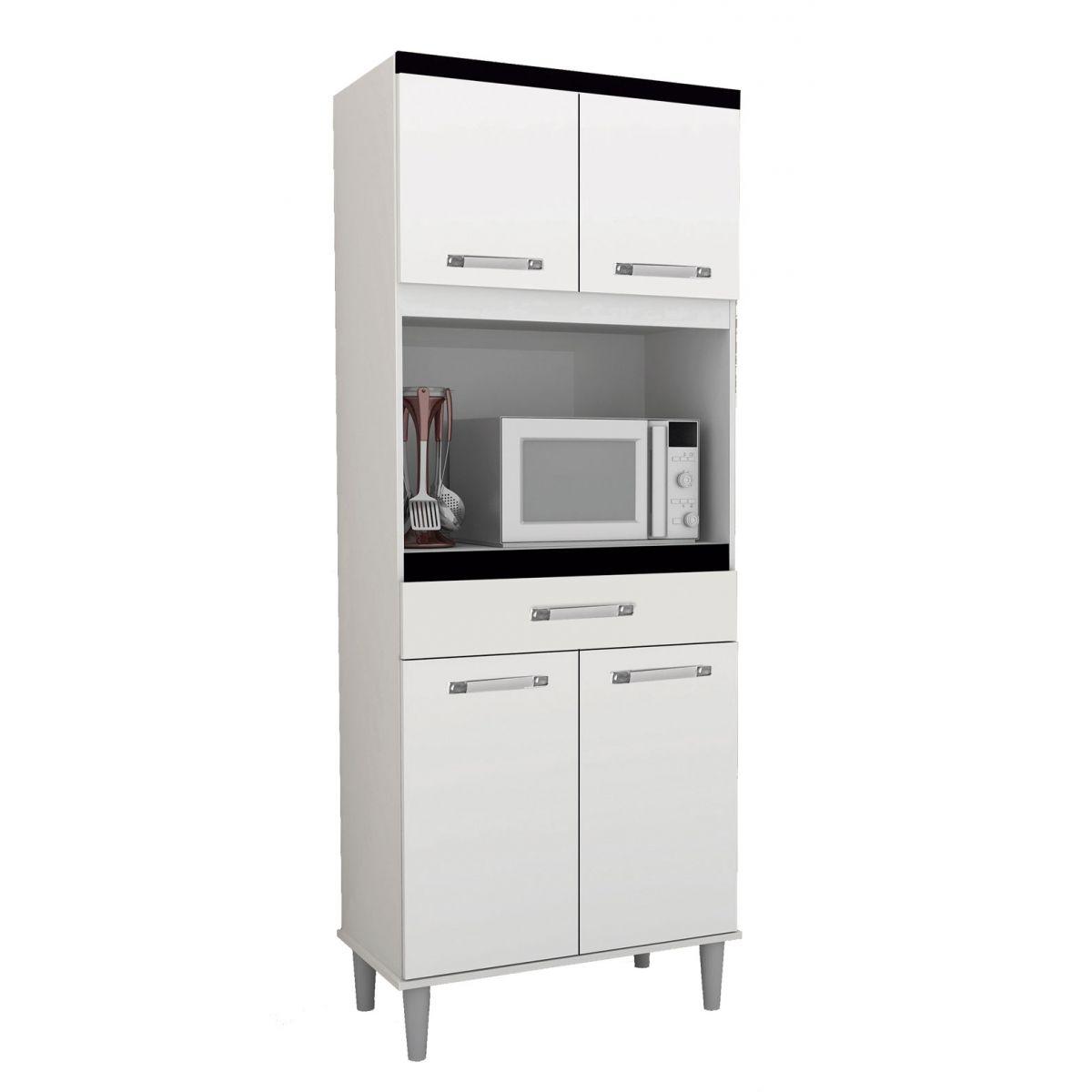 Armário de Cozinha Colorado 0,71m Branco e Preto - Cassini e Moreira