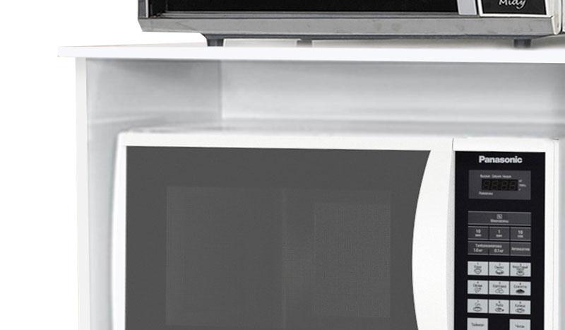 Balcao para Micro-ondas Ipe Branco com Preto - Moveis Primus
