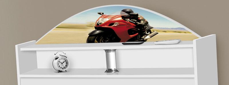 Cabeceira Solteiro Box Sicília Adesivada Moto Red - Tebarrot Móveis