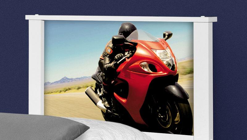 Cama Bibox Solteiro Adesivado Barcelona Moto Red - Tebarrot Móveis
