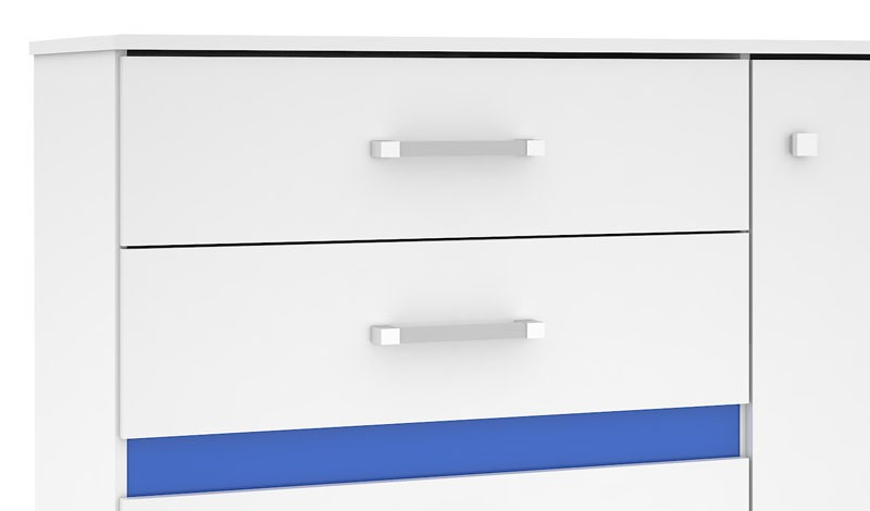 Cômoda Florence Plus III Branco com Azul - Mirarack