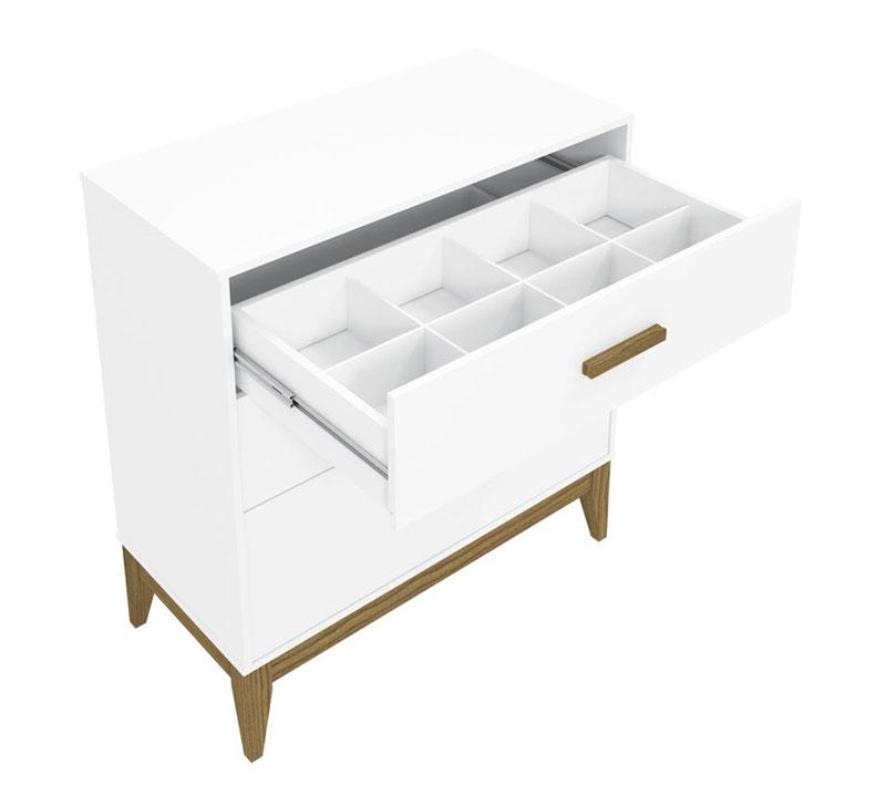 Cômoda Nature Branco Fosco com Eco Wood - Matic Móveis