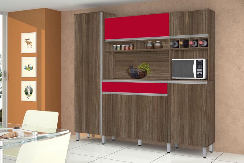 Armario de Cozinha Completo Brasil 2.3 Noce com Vermelho - CSA Moveis