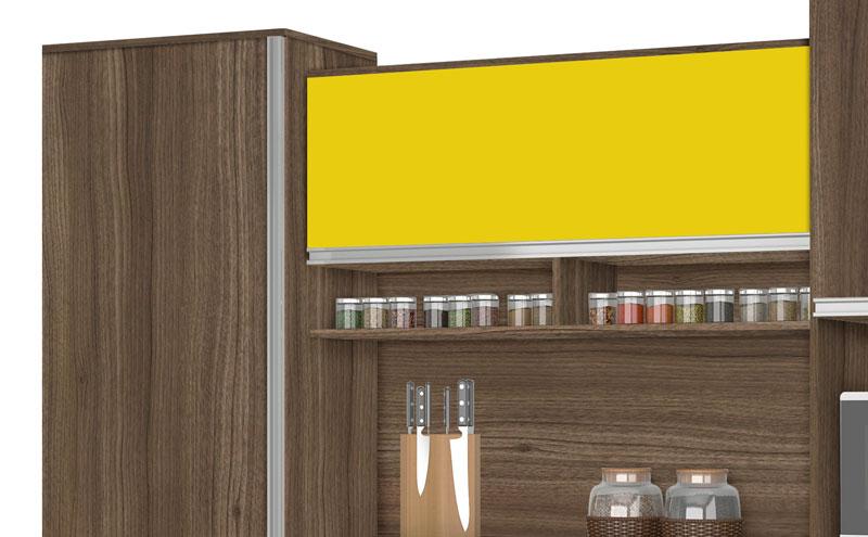 Armario de Cozinha Croacia 2.6 Noce com Amarelo - CSA Moveis