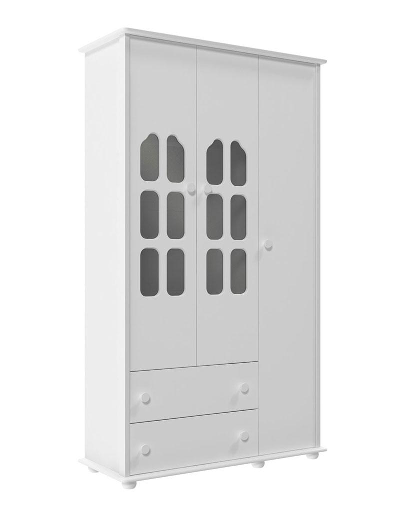 Guarda-Roupa Amore 3 Portas Branco Brilho - Matic Móveis