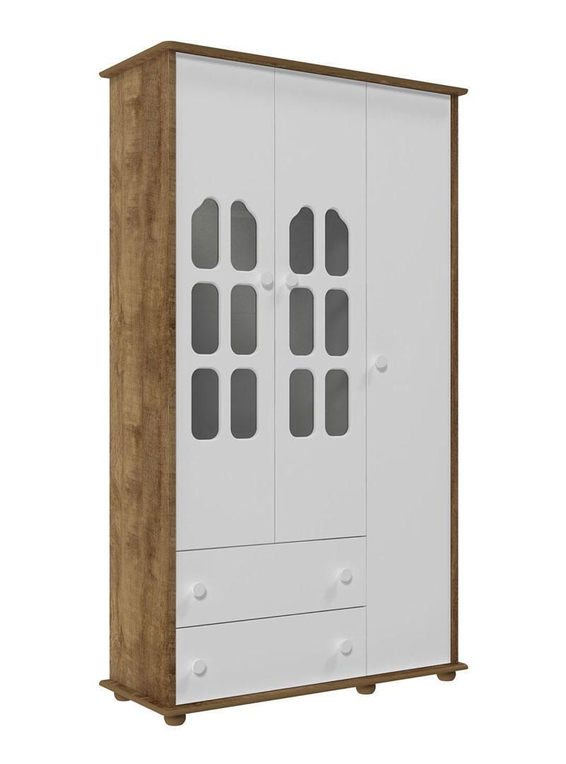 Guarda-Roupa Amore 3 Portas Branco Fosco com Teka - Matic Móveis