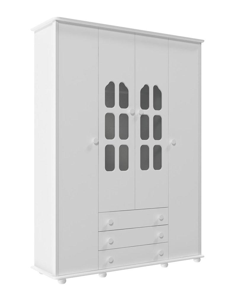 Guarda-Roupa Amore 4 Portas Branco Brilho - Matic Móveis