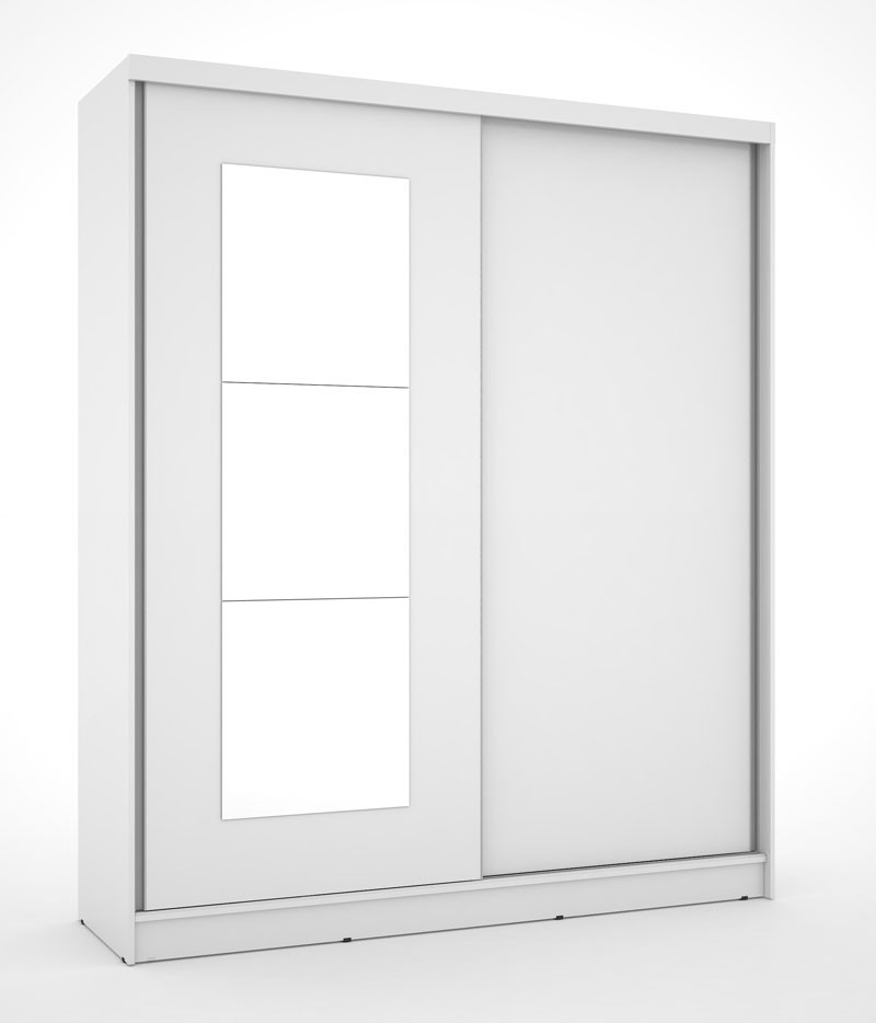 Guarda Roupa Blumenau Plus III com espelho Branco - Mirarack