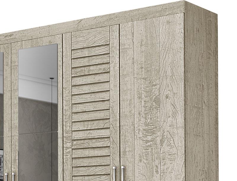 Guarda Roupa Casal 6 Portas com Espelho Montreal Pérola - Tebarrot Móveis