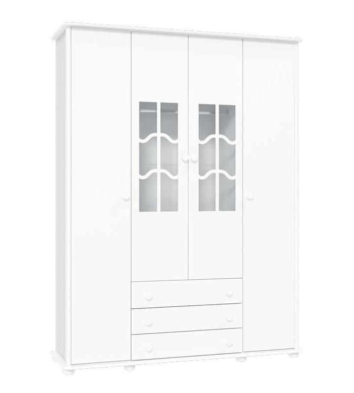 Guarda-Roupa Confort 4 Portas Branco Brilho - Matic Móveis