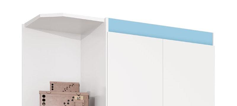 Guarda Roupa Encanto 2 Portas com Cantoneira Branco com Azul - Imaza Móveis