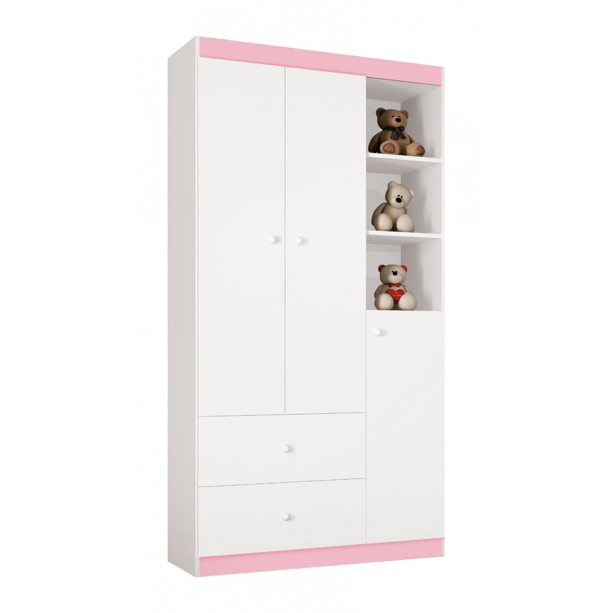 Guarda Roupa Encanto 3 Portas Branco com Rosa - Imaza Móveis