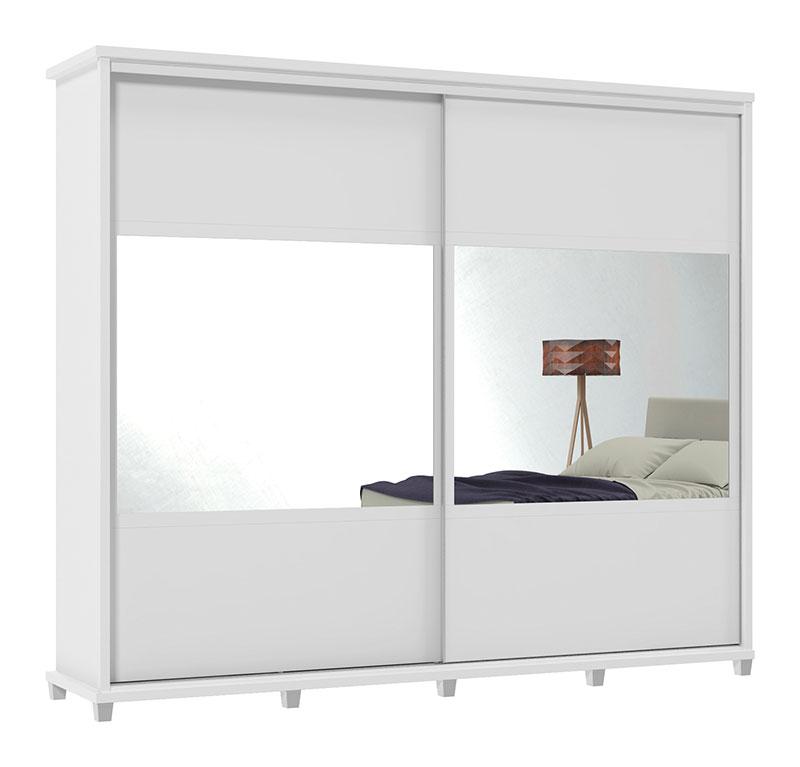 Guarda-Roupa Holanda II 2 Portas Espelho Branco - Rv Móveis