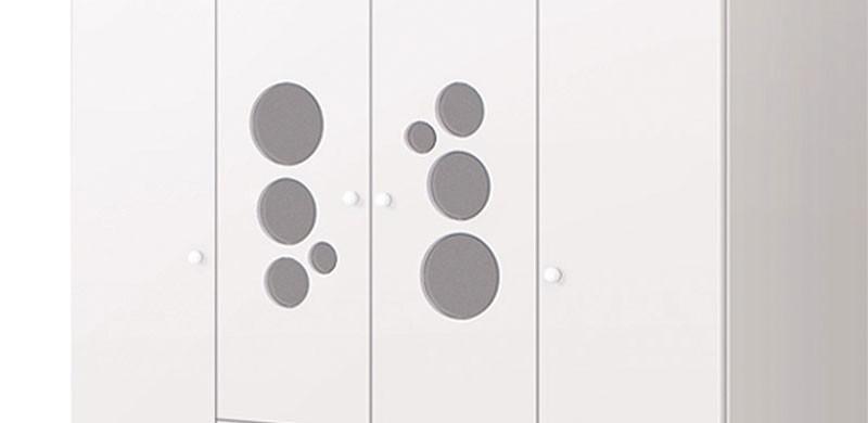 Guarda Roupa Kuka Baby 4 Portas Branco Brilho - Imaza Móveis