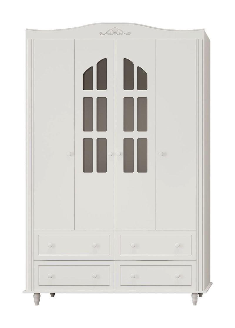 Guarda Roupa Laura 4 Portas Branco Fosco - Imaza Móveis
