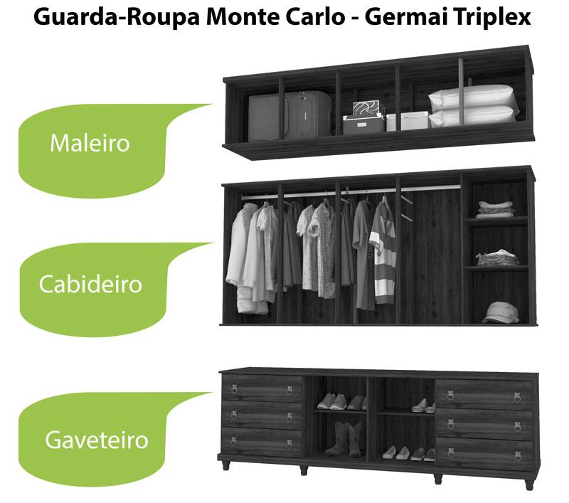 Guarda Roupa Triplex 5 Portas Monte Carlo Canela - Germai Móveis