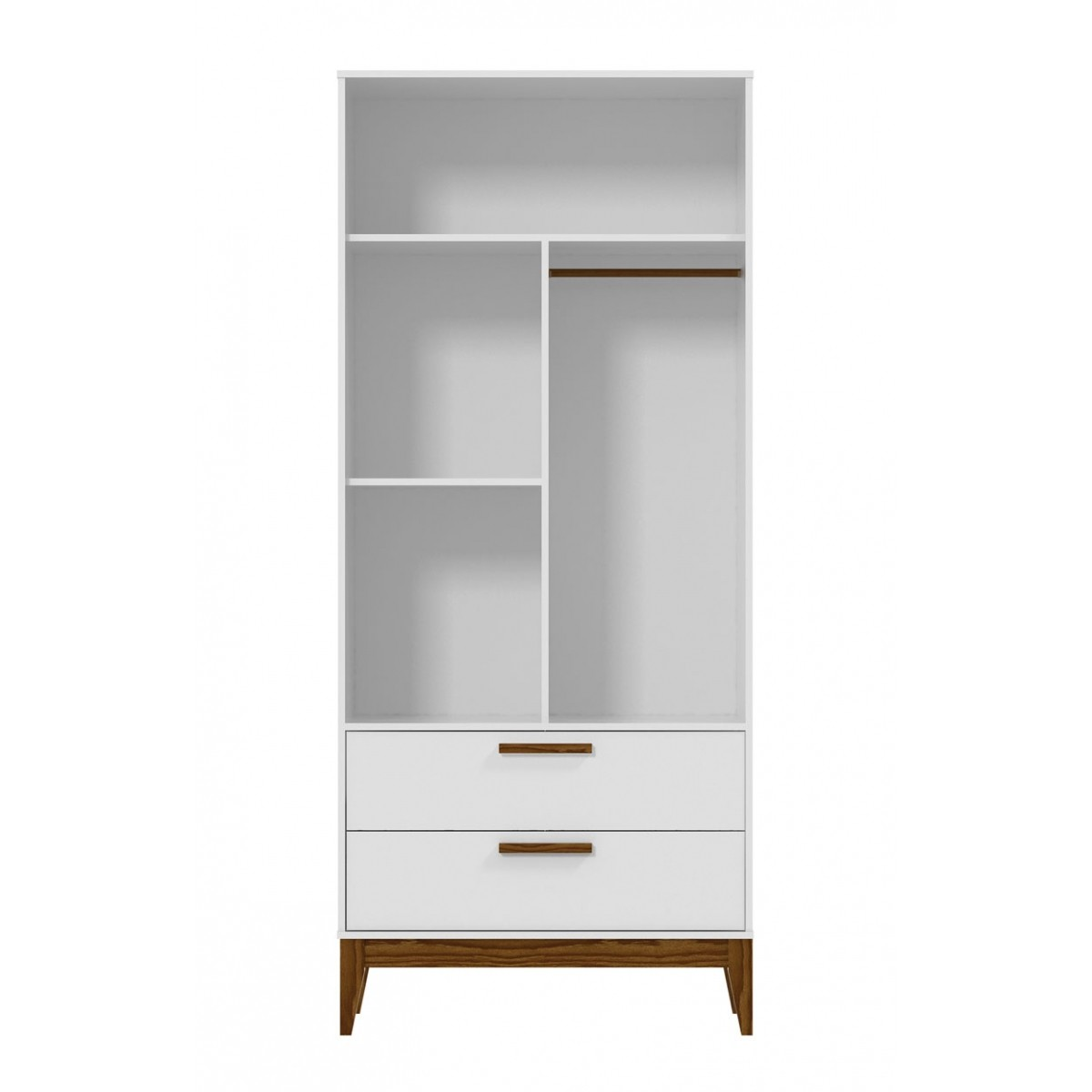 Guarda-Roupa Nature Glass 2 Portas Branco Fosco com Eco Wood - Matic Moveis